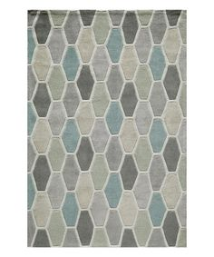 Look at this Gray & Light Green Geometric Rug on #zulily today!