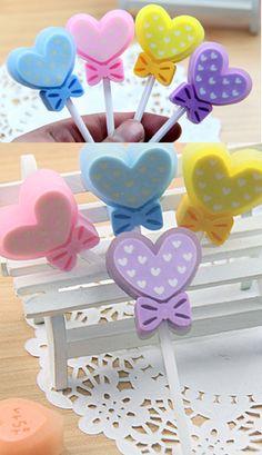 Cute heart and bow lollipop eraser