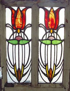 Antique-Stained-Glass-Window-Stunning-Eight-color-Art-Nouveau-Tulip