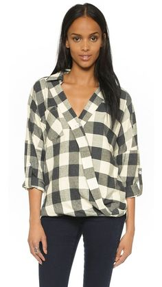 ONE by Against Nudity Plaid Wrap Blouse