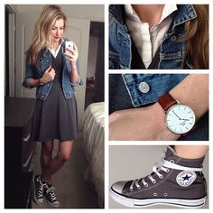 Converse high tops // tomboy chic outfit // sneakers with dress outfit
