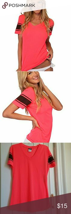 Ingear  T-shirt Women's V-neck T-shirt Casual Top Teen Girls.  Fashion Print Sport Shirt. New with tag. Newer been worn. Color is Coral. The size is X LARGE but it like medium. ingear  Tops Tees - Short Sleeve