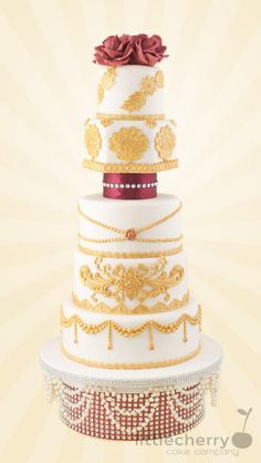 Red, Gold and Ivory - Cake by Little Cherry