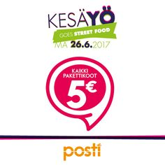 POSTI Lähetä paketit 5 Eurolla! (norm. 5,90€ – 11,90€) Paketit Revontulen pakettiautomaatilta 26.6.–2.7. Ehdot: www.posti.fi/tarjous