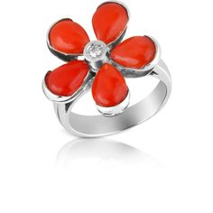 Del Gatto Rings Diamond and Red Coral Flower 18K Gold Ring (75.985 RUB) ❤ liked on Polyvore featuring jewelry, rings, flower diamond ring, flower ring, gold ring, yellow gold rings and gold charms