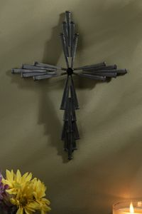 "11"" Jeweled Steel 25 Nail Wall Cross"