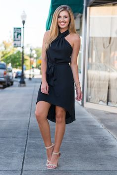 """Twisted Delight Dress, Black"" We are delighted over this black beauty! The color looks amazing on anyone and that neckline is truly divine! #newarrivals #shopthemint"