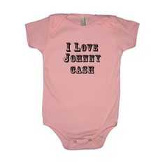 Adorable I Love Johnny Cash tees and onesie that proudly display baby's love for Johnny Cash. The perfect outfit for country loving cuties!
