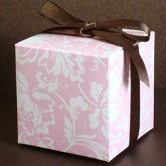 Pink and White Peony Cube Favor Box $1.00