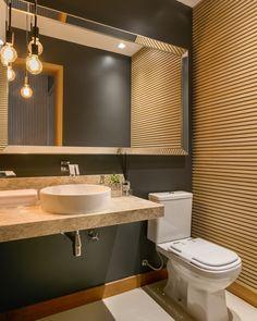 Luminária para banheiro: 50 modelos modernos e atemporais (Fotos) Bathroom Interior Design, Decor Interior Design, Interior Decorating, Sink, Indoor, Mirror, Architecture, Furniture, Home Decor