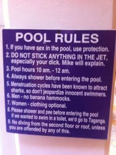 """""""Pool Rules Take It To The Next Level.    When you're a part-time lifeguard, you make the rules."""""""
