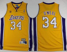 Lakers  34  Shaquille O Neal Yellow Throwback  StitchedNBAJersey Nba Los  Angeles 1fb74d916