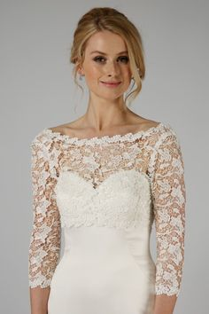 This shrug is made from beautiful Guipure lace with longer sleeves and a plunging back detail, finished off with two pearl buttons. Bridal Tops, Bridal Lace, Bridal Shrugs, Wedding Dress Accessories, Wedding Dresses, Anna Wood, Sparkly Belts, Lace Shrug, Fur Fashion
