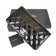 Chanel portefeuilles Cuir verni Noir or Logo Pas Cher En Ligne CCS185,sac a main chanel  €76.00