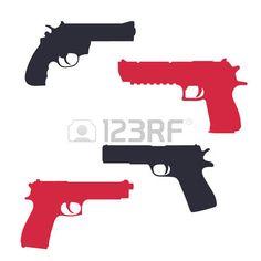 revolver, pistol, gun, handgun silhouettes over white, vector illustration photo