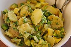 Potato - avocado salad with cress (recipe with picture) Snack Mix Recipes, Healthy Diet Recipes, Healthy Snacks, Pizza Snacks, Avocado Dessert, Avocado Toast, Gluten Free Kitchen, Asian Recipes, Ethnic Recipes
