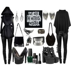 """Grunge me in black"" by goth-dolly on Polyvore"
