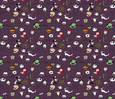 Nightmare before christmas collection purple fabric by kyatastic on
