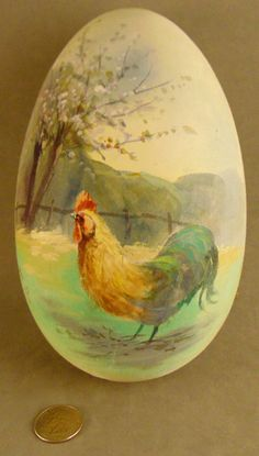 """Antique 1910 Papier Mache Candy Container Silk Easter Egg """"Hand Painted Rooster"""""""