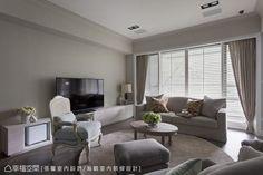 不同於一般的白色線板,設計師將立面霧鄉色彩向上延伸,層次化空間色彩。