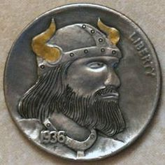 JON DAKE - VIKING* - 1936 BUFFALO PROFILE Soldiers, Vikings, Warriors, Buffalo, Classic Style, Coins, Carving, Profile, Personalized Items
