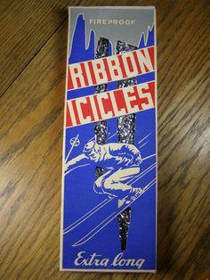 Vintage Christmas Tree Ribbon Icicles Original Box with Skier