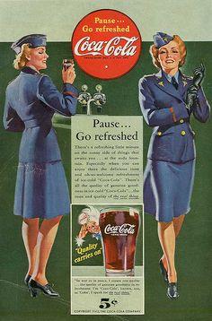WWII era Coca-Cola ad featuring a female soldier, 1942