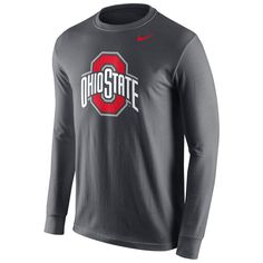 Ohio State Buckeyes Nike Cotton Logo Long Sleeve T-Shirt - Anthracite - $31.99