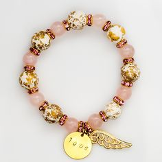 Guardian Angel - Rose Quartz, Jasper, Angel Wing Bracelet