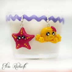 starfish & octopus earrings -polymer clay