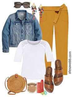Plus Size Spring Outfit with mustard pants, white top, and denim jacket - Alexa Webb # Outfits escuela Plus Size Spring Outfit Formula - Alexa Webb Summer Outfits Women Over 40, Summer Work Outfits, Winter Outfits, Boho Outfits, Cute Outfits, Mustard Pants, Mustard Jeans Outfit, Khaki Shorts Outfit, Outfits Plus Size