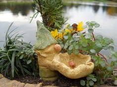 Gnome Mini Birdbath...offered exclusively by WholesaleFairyGardens.com.