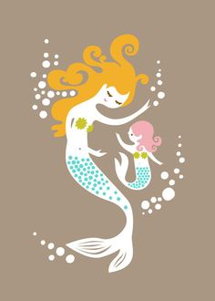 mermaid mother & daughter gray/pink/turquoise/olive by ThePaperNut. - AWE! so cute!