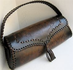 laced leather bag