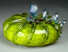 Hand Blown Glass Pumpkin Olive Jewel Tone by dunnikerdesigns,
