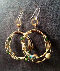 Recycled Guitar String Loop Earrings by LemonHandmadeJewelry