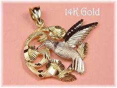 14K Gold ~ Stunning Diamond Cut Hummingbird Flowers Pendant - 14K White & Yellow Gold