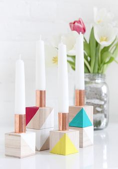 MY DIY | Color Block Candlestick Holders