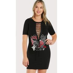 f9203dfe317 SheIn(sheinside) Print   Text Lace Up Tee Dress ( 14) ❤ liked. Plus Size ...