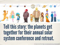 TELL THIS STORY: The planets get together for their annual solar system conference and retreat.