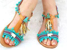 Blue leather Sandals boho Sandals Gaia Ancient par BlackSwanFeather