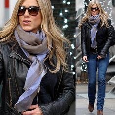 Scarf with leather jacket, casual