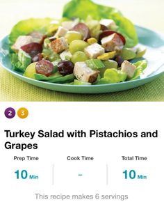 "Pistachio & Grape Turkey Salad: 1 1/2 lbs roasted 1/2"" cubed turkey breast, 4 stalks chopped celery, 3:4c 1/2ed red grapes, 2/8c mayo & chopped pistachio, 1/4tsp salt & pepper. Combine turkey, celery, grapes, pistachios, mayo, salt & pep lg bowl. Stir well. Serv size = 1c. 290cal, 6g carbs, 0g fiber."