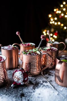 Pomegranate and Peppermint Moscow Mules   a video. Festive, quick, easy and so delicious - the perfect drink for Christmas! From halfbakedharvest Christmas Cocktails, Holiday Drinks, Christmas Meals, Christmas Décor, Christmas Vacation, Magical Christmas, Rustic Christmas, Peppermint Vodka, Cocktail Drinks