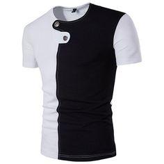b7d4b7eb4e9 New Arrival Summer Men Fashion Hip Pop High Street Stylish Button Hit Color  O-Neck Short Sleeve T-shirt Casual Men Top Tees