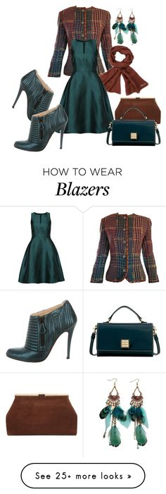 """Tweed & satin"" by wickedangel on Polyvore featuring Emanuel Ungaro, Vero Moda, Christian Louboutin and Dooney & Bourke"