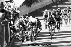 """Bora-Hansgrohe's Peter Sagan has been disqualified from the Tour de France for """"seriously endangering"""" another cyclist, after sending Mark Cavendish into the barriers in the final sprint on stage four. Mark Cavendish, Mtb, Stage, Bicycle Race, Pro Cycling, Racing, Tours, Bicycling, Goodies"""
