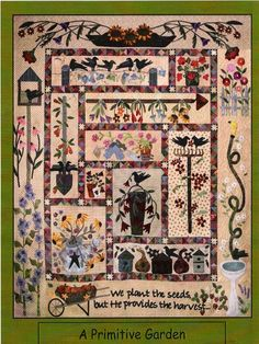 A Primitive Garden by Lisa Bongean.  She also shared a picture from a quilt show where the pieced inner border was repeated around the outside as an outer border (same scale).  Awesome!