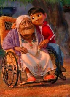 "Miguel and Mama Coco in Disney Pixar's new ""Coco"""