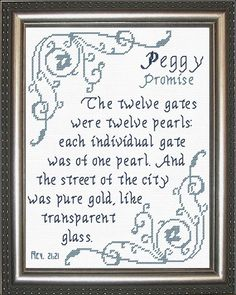 Cross Stitch Peggy with a name meaning and a Bible verse